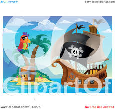 clipart of a cartoon pirate ship sailing with a jolly roger flag