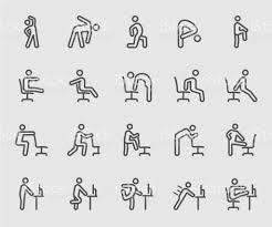 exercice au bureau exercice pour les personnes qui travaillent bureau icône de ligne au