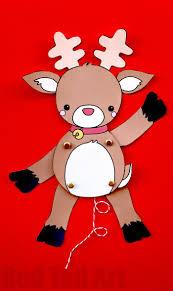 paper reindeer puppet template red ted art u0027s blog