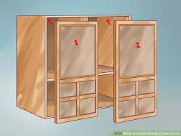 How To Hang A Cabinet Door How To Install Sliding Closet Doors 11 Steps With Pictures