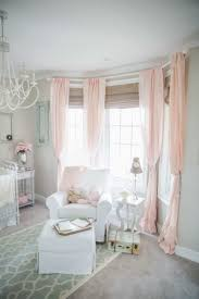 Baby Pink Curtains Baby Room With Bay Windows That Decorated With Bamboo Blinds And
