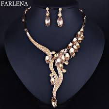 wedding necklace earrings images Farlena wedding jewelry fashion crystal rhinestones necklace jpg