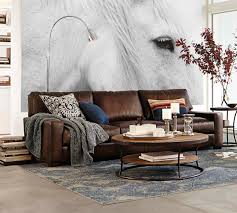 pillow arm leather sofa sofas sectionals pottery barn turner square arm leather sofa