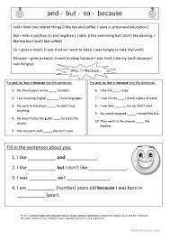 and so but because worksheet free esl printable worksheets