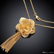 gold flower necklace designs images Wholesale 2015 new design beautiful flower pendant 18k gold plated jpg