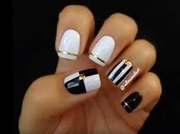 white black and gold stunning white nail designs appropriate