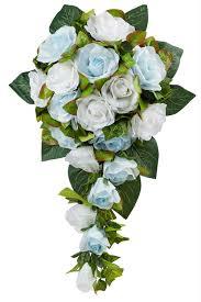 white bouquet blue and white silk cascade bridal wedding bouquet