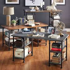 cross island desk w storage office desk overstock home office desks cross island 2 set tall