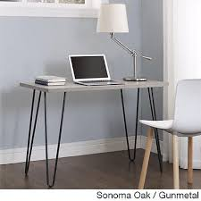 small writing desk computer laptop table metal wood home office