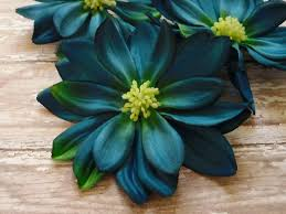 teal flowers silk flowers three large teal blue dahlias 4 inches