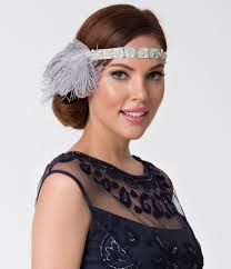 gatsby headband vintage style silver grey feather gatsby headband