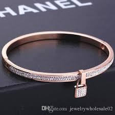 rose bangle bracelet images European exaggerated rose gold engraved key bangle bracelet women jpg