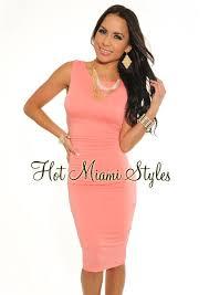 light pink knee length dress coral key hole back ruched knee length dress