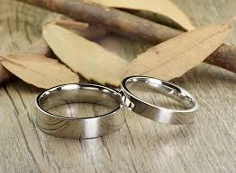 wedding rings couple images Handmade flat plain matching wedding bands couple rings set titanium JPG