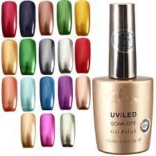 17 colors 15ml metallic soak off metal nail uv gel polish online
