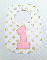 1st birthday bib birthday bib with bow baby girl polka dots pink and gold