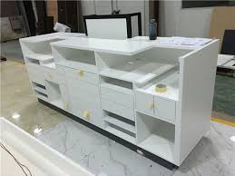 Custom White Reception Desk Design Front Desk Furniture Cash Counter