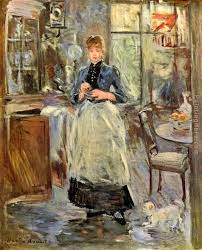 Berthe Morisot The Dining Room Art Painting For Sale - Berthe morisot in the dining room