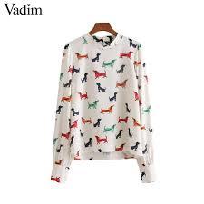 shirt pattern for dog 2018 vadim women sweet dog pattern shirt long sleeve o neck blouse
