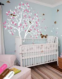 large nursery wall decals white large tree with leaves birds squirrels nursery wall decal