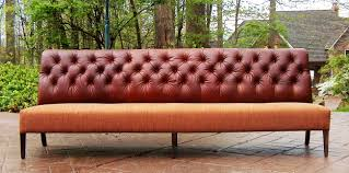 Curved Banquette Leather Settees Or Banquettes Triple Tufted Pull Up Leather Back
