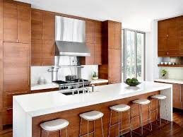 Stone Veneer Kitchen Backsplash Contemporary Kitchen Cabinets Box Brown Wooden Table Natural Stone