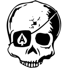 skull with ace of spades eyepatch decal decal depot