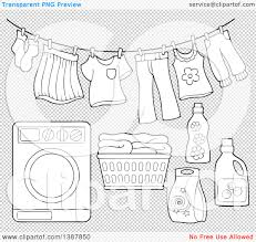 laundry line design clipart of a black and white lineart clothes line with laundry air