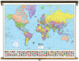Universal Map Advanced World Political Classroom Map On Spring Roller