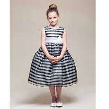 crayon kids black white stripe tea length flower dress girls