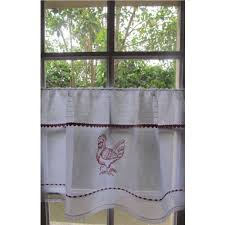sheer linen red rooster custom cafe curtain natural french kitchen