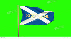 scotland flag with title waving in the wind looping sun rises