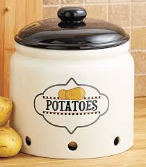 ceramic potato storage crock set 2 piece earthenware brown lids