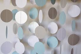 blue white silver paper garland boys baby shower