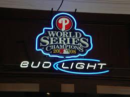 bud light bar light beer sign bud light philadelphia phillies world series