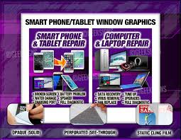 See Through Window Graphics Smart Phone Computer Repair Window Decals Signs Poster Purple