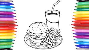 food coloring pages hamburger french fries coca cola coloring