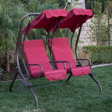 Wooden Swing Set Canopy by New Outdoor Swing Set 2 Person Patio Frame Padded Seat Furniture