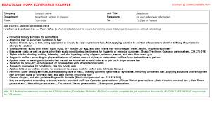 Beautician Resume Sample by Beautician Cv Work Experience Samples