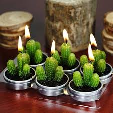 Tea Light Candles Aguacolla Cactus Tea Light Candles 6 Pk Efavormart