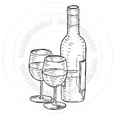 cartoon wine bottle drawn spectacles vintage bottle pencil and in color drawn