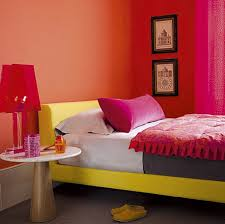 Bedroom Side View by Lovely Orange Bedroom Wall Color Plus Fetching Yellow Bed And