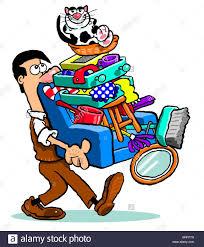 Cartoon Armchair Cartoon Man Carrying Household Goods On An Armchair With A Smiling