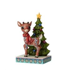 rudolph traditions rudolph standing by tree figurine