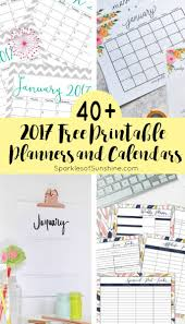 printable calendar 2017 for planner 40 awesome free printable 2017 calendars and planners sparkles of