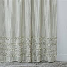 Gray Ruffle Shower Curtain Ruffled Ticking Stripe Shower Curtain Gray U2013 Southern Ticking Co