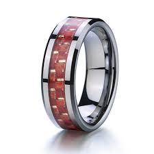 cincin tungsten carbide unik kayu merah pernikahan band cincin tungsten carbide pria