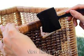 staining wicker baskets and finding the one view along the way