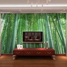 interior home with bamboo wall mural home design image