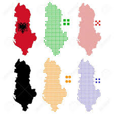 Map Of Albania Illustration Pixel Map Of Albania Royalty Free Cliparts Vectors
